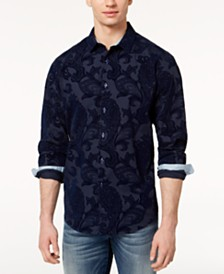 I.N.C. Men's Big & Tall Flocked Paisley Shirt, Created for Macy's