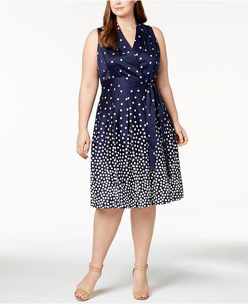 Optic Size Plus White Anne Klein Wrap Blue Dot Dress Breten Print qCzUTEn