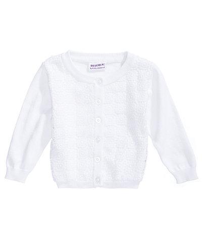 Blueberi Boulevard Crochet-Front Cardigan, Toddler Girls