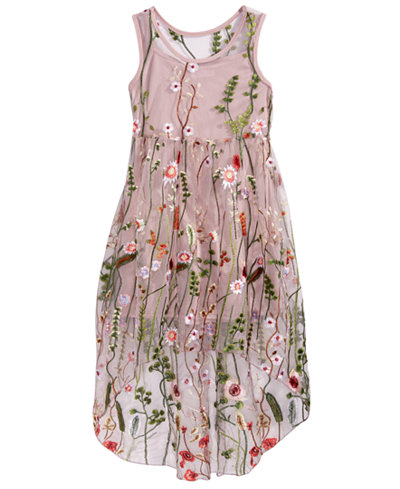 Bonnie Jean Layered-Look Embroidered High-Low Slip Dress, Big Girls
