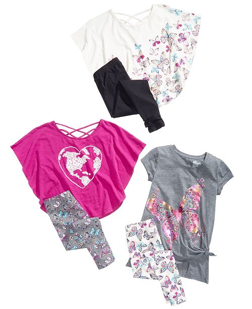 65be22ef6516a Epic Threads Big Girls Butterfly Assorted Graphic Print Tops & Printed  Leggings Separates, Created for