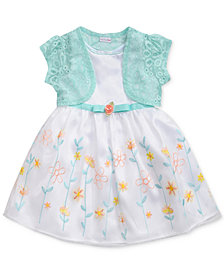 Sweet Heart Rose 2-Pc. Lace Shrug & Embroidered Dress Set, Little Girls