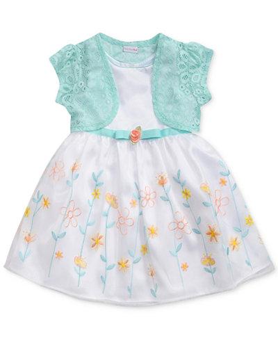 Sweet Heart Rose 2-Pc. Lace Shrug & Embroidered Dress Set, Toddler Girls