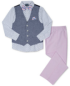 Nautica 4-Pc. Printed Shirt, Pants, Vest & Bowtie Set, Toddler Boys