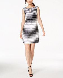 Ellen Tracy Petite Embellished Striped Sheath Dress