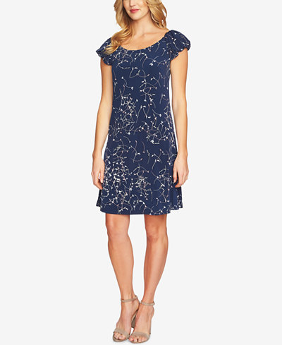 CeCe Printed Bubble-Sleeve Dress