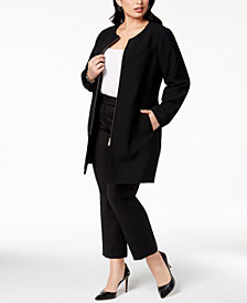 Alfani Plus Size Collarless Ponté-Knit Jacket, Created for Macy's
