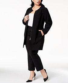Alfani Plus Size Collarless Ponté-Knit Jacket, Created for Macy's