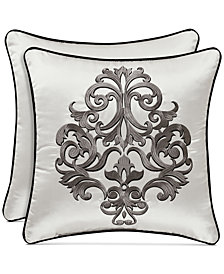 "J Queen New York Chancellor 18"" Embroidered Square Decorative Pillow"