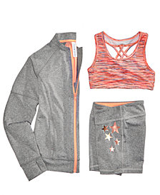 Ideology Performance Jacket, Space-Dye Sports Bra & Shorts Separates, Big Girls, Created for Macy's