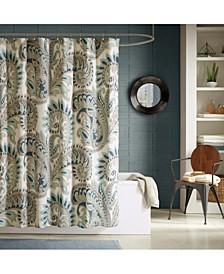 "Mira Cotton 72"" x 72"" Textured Paisley-Print Shower Curtain"