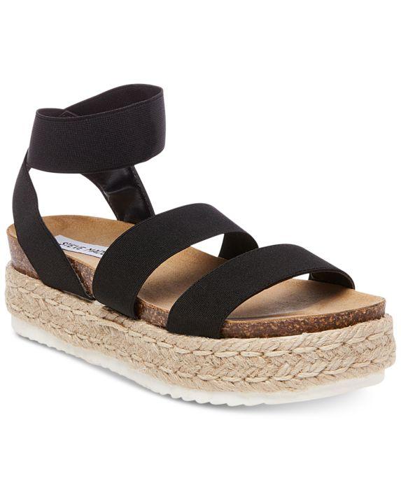 Steve Madden Womens Kimmie Flatform Espadrille Sandals, Black, Size: 9M