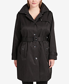 DKNY Plus Size Belted Trench Coat