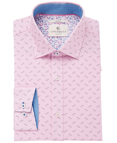 Con.Struct Men's Slim-Fit Stretch Pink Sharks Dress Shirt, Created for Macy's