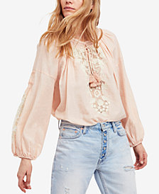 Free People Shimla Cotton Embroidered Peasant Top