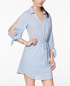 City Studios Juniors' Split-Sleeve Drawstring Shirtdress