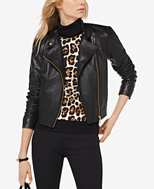 MICHAEL Michael Kors Leather Moto Jacket in Regular & Petite Sizes