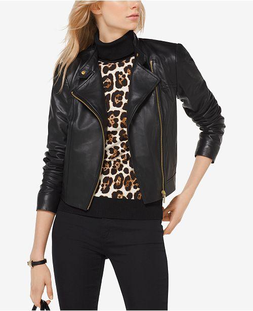 78f8bafaf Michael Kors Leather Moto Jacket in Regular   Petite Sizes   Reviews ...