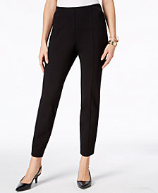 Alfani Pull-On Faux Leather Trim Skinny Knit Pants, Created for Macy's