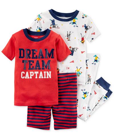 Carter's 4-Pc. Graphic-Print Cotton Pajama Set, Toddler Boys