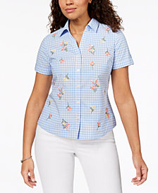 Karen Scott Petite Cotton Embroidered Gingham Button-Front Shirt, Created for Macy's