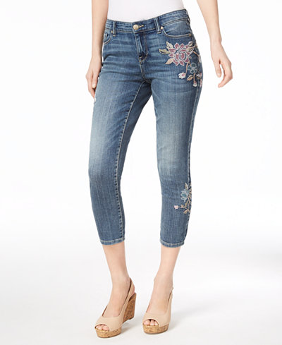 Style & Co Petite Embroidered Cropped Ankle Jeans, Created for Macy's