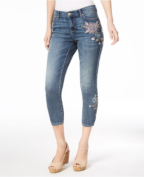 Style & Co Petite Embroidered Capri Jeans, Created for Macy's