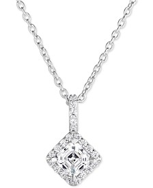 "Swarovski Zirconia Halo 18"" Pendant Necklace in Sterling Silver"
