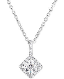 "Arabella Swarovski Zirconia Halo 18"" Pendant Necklace in Sterling Silver"