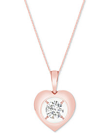 MAGNIFICENCE Diamond Heart Pendant Necklace (1/10 ct. t.w.)