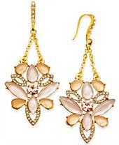 I.N.C. Gold-Tone Pavé & Colored Stone Chandelier Earrings, Created for Macy's