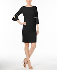 Calvin Klein Petite Imitation-Pearl-Trim Sheath Dress