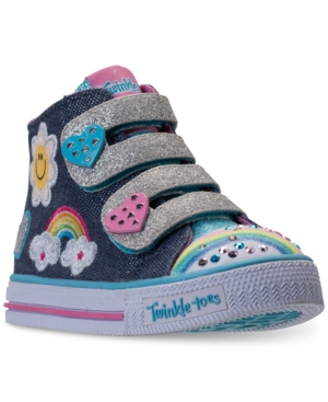 Skechers Toddler Girls' Twinkle Toes: Shuffles - Rainbow Beauty Light-Up High Top Casual Sneakers from Finish Line