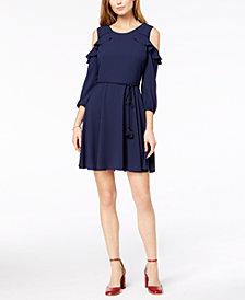 Maison Jules Cold-Shoulder Flounce-Trim Dress