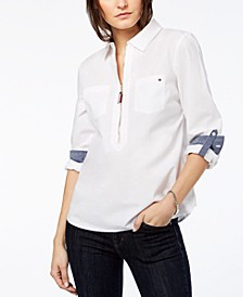 Cotton Half-Zip Top, Created for Macy's