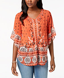 Style & Co Petite Printed Pintucked Top, Created for Macy's