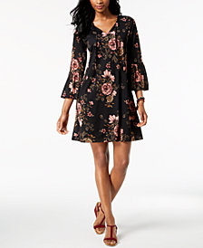Style & Co Petite Printed Bell-Sleeve Dress, Created for Macy's