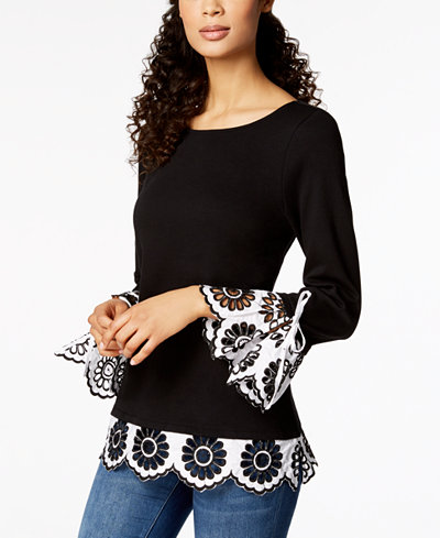 Charter Club Boat-Neck Eyelet-Contrast Top, Created for Macy's