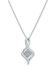 "Diamond Cluster Twist 18"" Pendant Necklace (1/10 ct. t.w.) in Sterling Silver"