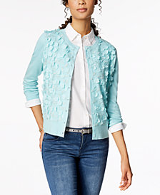 Charter Club Long-Sleeve Floral-Appliqué Cardigan, Created for Macy's