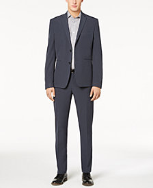 Perry Ellis Premium Men's Slim-Fit Stretch Navy Solid Tech Suit, Machine Washable