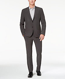 Perry Ellis Premium Men's Slim-Fit Stretch Dark Gray Mini-Check Tech Suit, Machine Washable