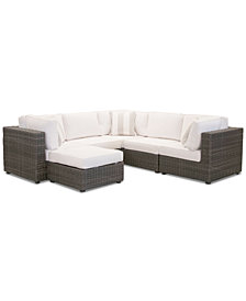 Viewport Outdoor 6-Pc. Modular Seating Set (3 Corner Units, 2 Armless Units and 1 Ottoman) with Sunbrella® Cushions, Created for Macy's