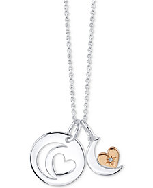 "Unwritten Crystal Two-Tone Moon & Heart Pendant Necklace in Rose Gold-Flashed Sterling Silver, 16""+ 2"" extender"