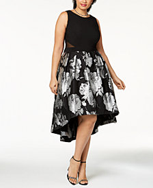 Xscape Plus Size Brocade High-Low Dress