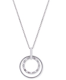 "Diamond Double Circle 18"" Pendant Necklace (1/10 ct. t.w.) in Sterling Silver"