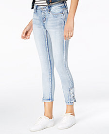 Blue Desire Juniors' Lace-Up-Hem Skinny Jeans