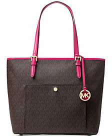 MICHAEL Michael Kors Jet Set Snap-Pocket Signature Large Tote