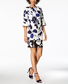 Vince Camuto Printed Bell-Sleeve Sheath Dress