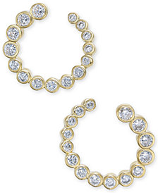 kate spade new york Gold-Tone Crystal Bypass Hoop Earrings